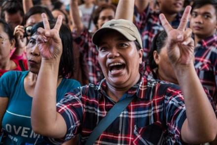 Supporters of Basuki Tjahaja Purnama cheers their candidate