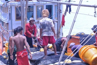 Migrant workers on a Thai fishing boat