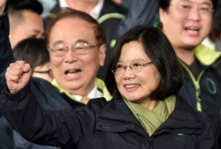 Tsai Ing-wen celebrates her election victory in Taipei in 2016. Credit: AFP/Sam Yeh